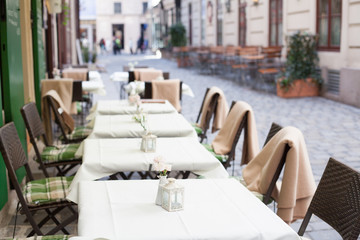 empty restaurant terrace