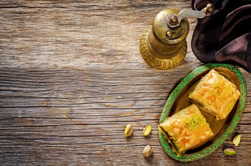baklava with pistachio. turkish traditional delight