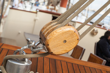old sailing boat detail. pulleys and ropes