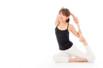 young asian woman exercise image on white background