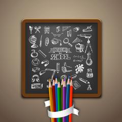 Hand-drawn school set. Back to school illustration