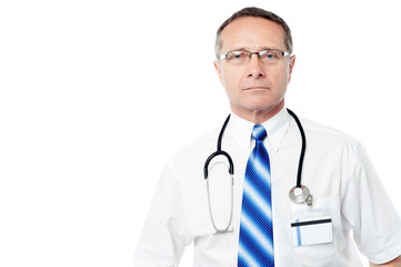 Aged male doctor with lab coat
