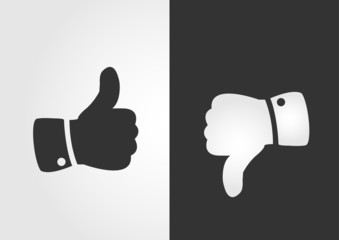 Like and dislike icon, flat design