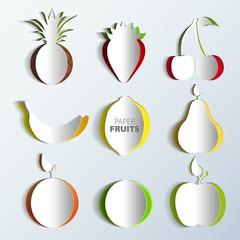 Paper Fruit Set cut out - mix design card illustration