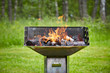 canvas print picture - grill with burning charcoal