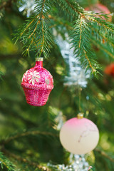 pink ball and house christmas decoration