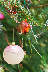 pink ball and red balls christmas decoration