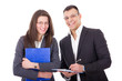 businessman and his young secretary with notes