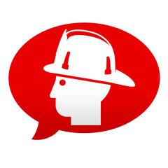 Etiqueta tipo app roja comentario simbolo bombero