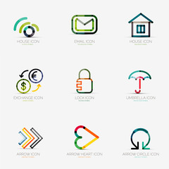 Set of various company logos, business icons