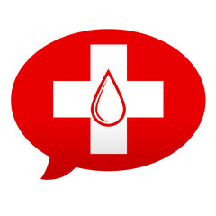 Etiqueta tipo app roja comentario simbolo donacion de sangre