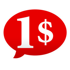 Etiqueta tipo app roja comentario simbolo 1$