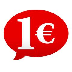 Etiqueta tipo app roja comentario simbolo 1€