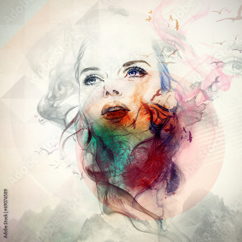 woman portrait  .abstract  watercolor .fashion background - 69076589