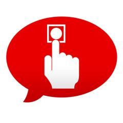Etiqueta tipo app roja comentario simbolo boton de alarma