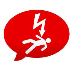 Etiqueta tipo app roja comentario simbolo descarga electrica