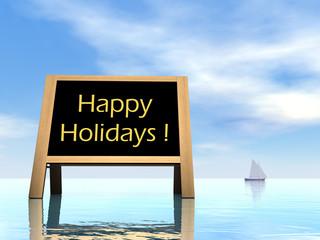Summer blackboard wishing happy holidays - 3D render