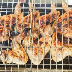 grilled chicken wings on brazier