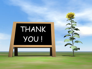 Sunflower blackboard saying thank you - 3D render