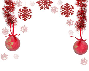 half frame from red christmas tree decorations on white