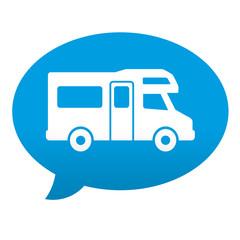 Etiqueta tipo app azul comentario simbolo autocaravana