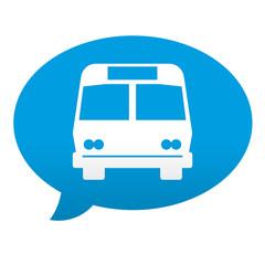 Etiqueta tipo app azul comentario simbolo autobus
