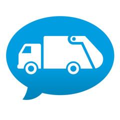 Etiqueta tipo app azul comentario simbolo camion de la basura