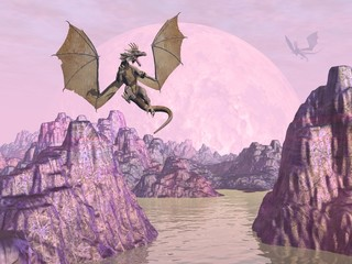 Dragons upon rocks - 3D render