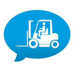 Etiqueta tipo app azul comentario simbolo carretilla elevadora