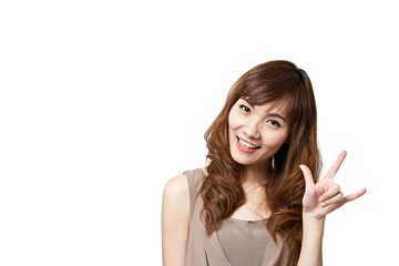 woman showing love hand sign gesture