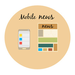 Communication icons,mobile news,newspaper,mobile newspaper