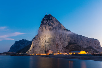 The rock of Gibraltar seen from the bay-side