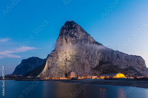 canvas print picture The rock of Gibraltar seen from the bay-side
