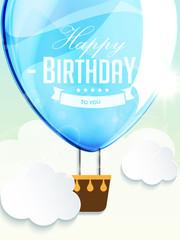 Happy birthday balloons greeting card blue illustration