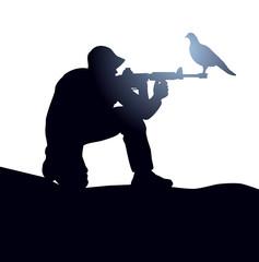 soldier silhouette - dove  gun