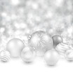 Winter background with silver christmas balls.