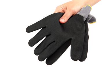 Black work gloves on hand on white background.