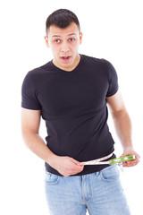 man with measuring tape around his waist