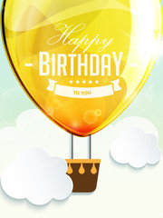 Happy birthday balloons greeting card yellow illustration