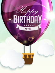 Happy birthday balloons greeting card violet illustration