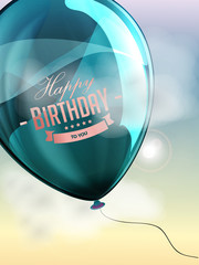 Happy birthday balloons greeting card blue illustration