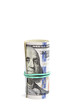 Roll of banknotes on a white background.