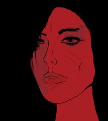 Woman portrait, red face