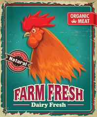 Vintage organic farm fresh rooster poster design