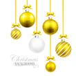 Christmas balls with yellow ribbon and bows