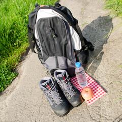 rucksack mit wanderschuhe