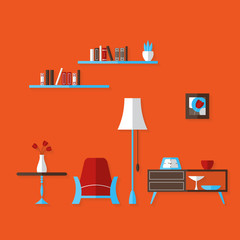 Flat Living Room over red