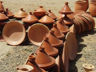 Line of clay and ceramic tagines