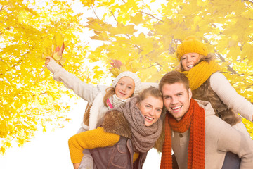 happy autumn family