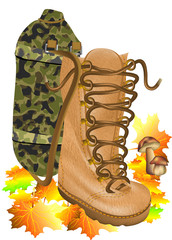 boot traveling on autumn leves